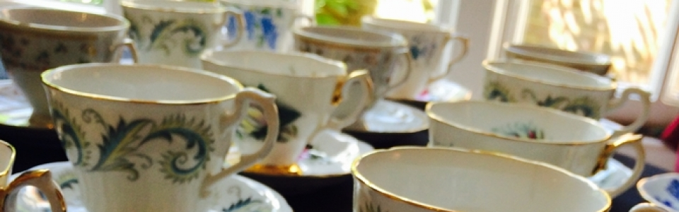vintage china used for funeral catering events in Surrey